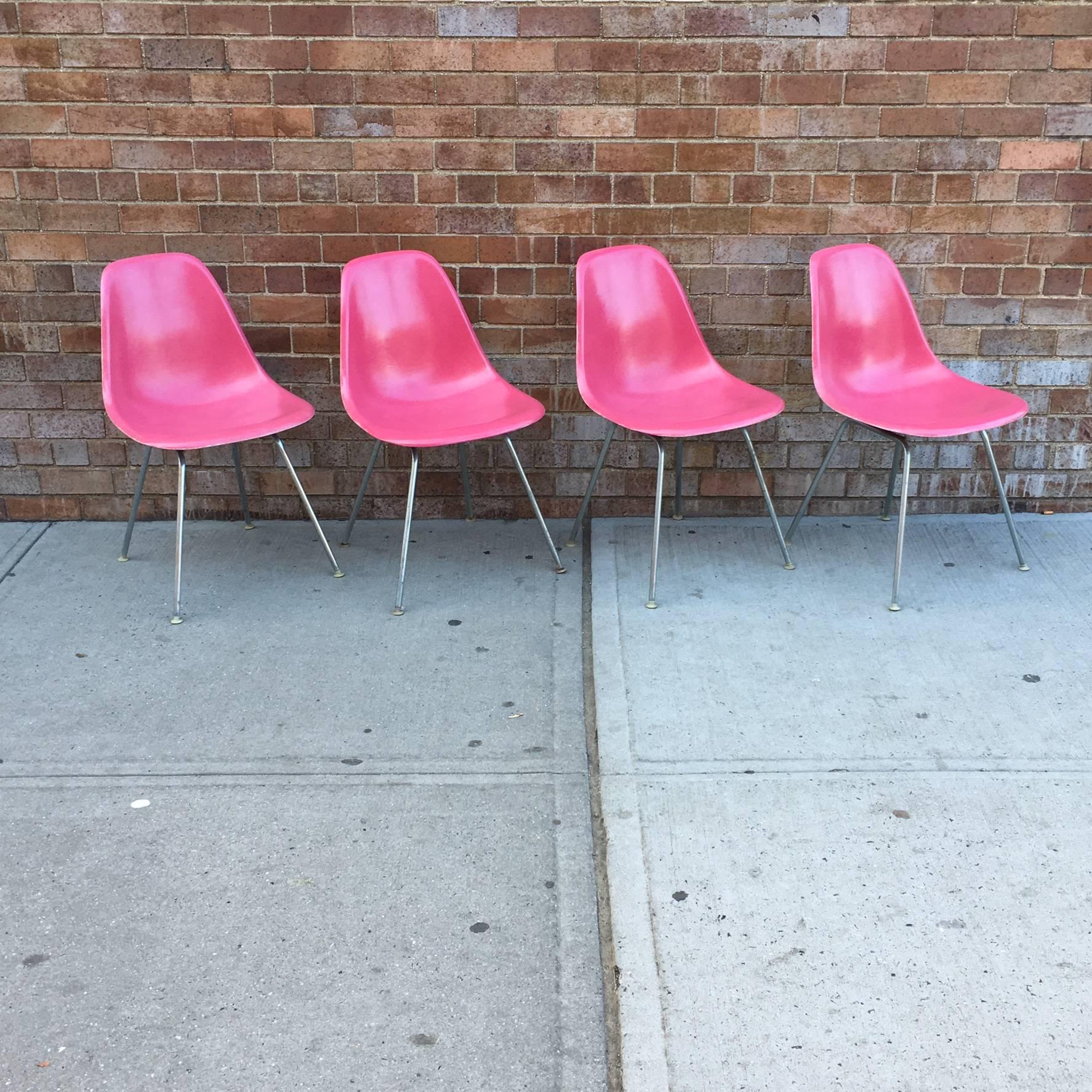 Four Supremely Rare Flamingo Pink Herman Miller Eames at 1stdibs