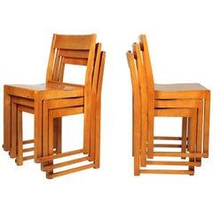 4 Sven Markelius Helsingborg Theater Birch Dining Chairs