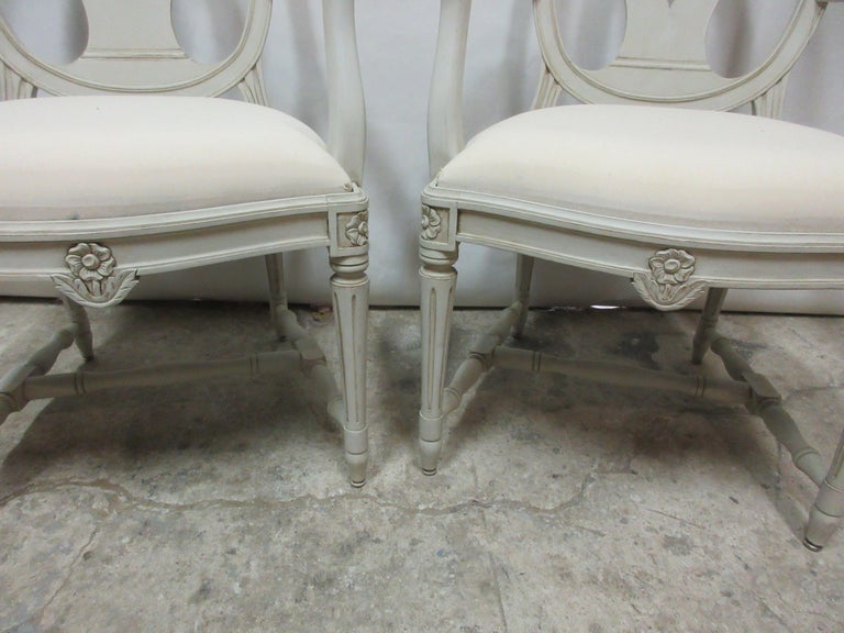 Early 20th Century Set of 4 Swedish Gustavian Armchairs For Sale