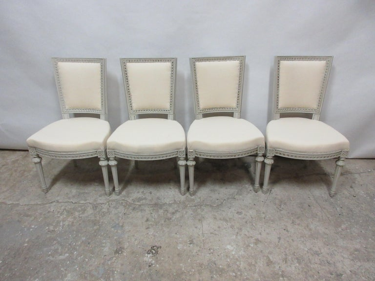 This is a set of 4 Swedish Gustavian side chairs, they have been restored and repainted with milk paints