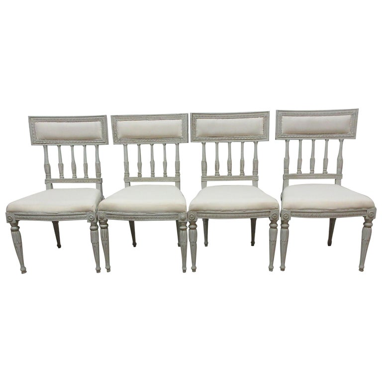 4 Swedish Gustavian Side Chairs For Sale