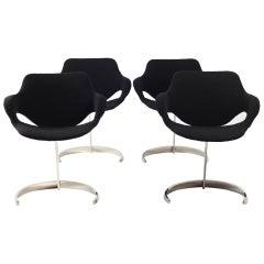 4 Tabacoff Chairs in Dedar Fabric, France, 1970