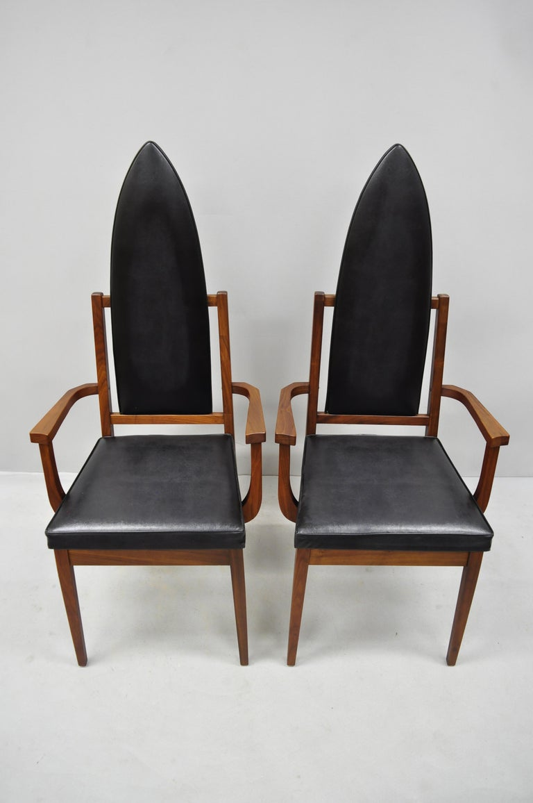 4 Tall Point Back Walnut Mid-Century Modern Dining Chairs after Adrian Pearsall For Sale 4
