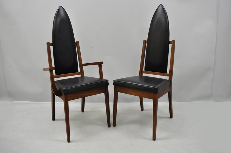 American 4 Tall Point Back Walnut Mid-Century Modern Dining Chairs after Adrian Pearsall For Sale