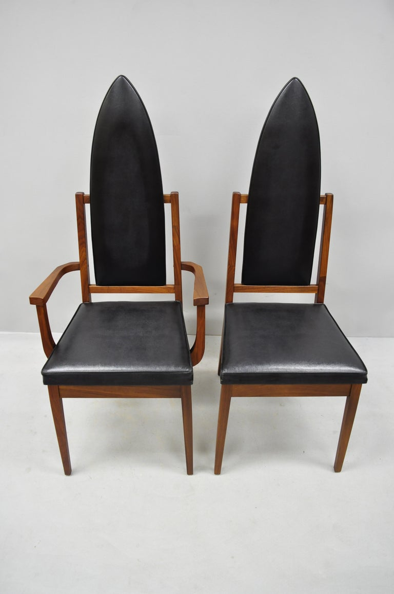 Naugahyde 4 Tall Point Back Walnut Mid-Century Modern Dining Chairs after Adrian Pearsall For Sale