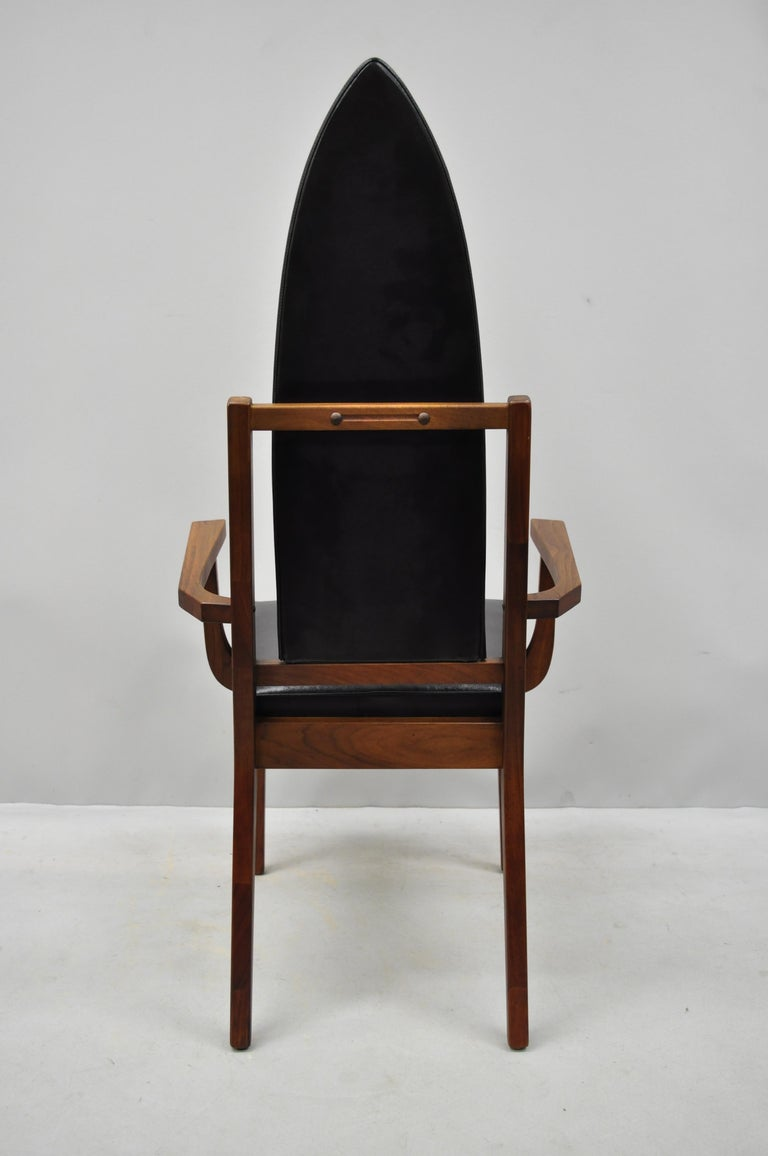 4 Tall Point Back Walnut Mid-Century Modern Dining Chairs after Adrian Pearsall For Sale 3