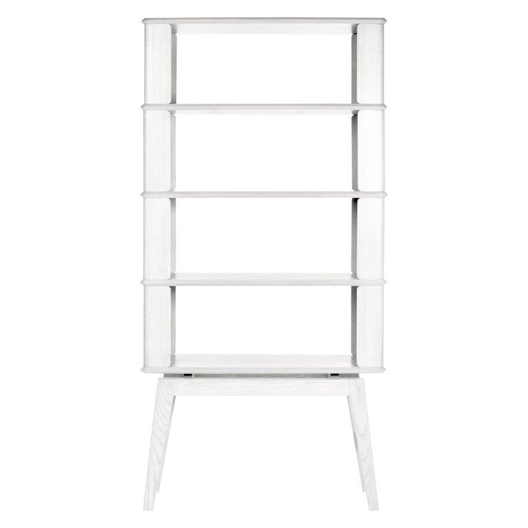 4-Tier Bookshelf/Storage, Ashwood with Ivory Stain by Debra Folz For Sale