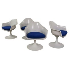 4 Tulip Style White Fiberglass Swivel Armchairs, Arthur Umanoff for Contemporary