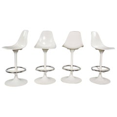 4 Tulip Style White Swivel Barstools by Arthur Umanoff for Contemporary Shells
