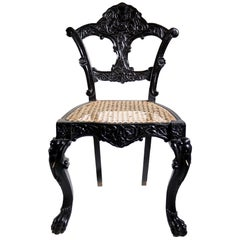 4 Unique Rococo Revival Solid Ebony Anglo-Indian / Ceylon Chairs