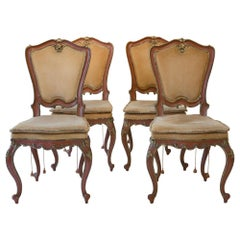 4 Venetian Chairs 18th Century Red Lacquered Painted Partially Giltwood, Italy