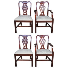4 Vintage Baker Chippendale Style Pretzel Back Mahogany Dining Arm & Side Chairs