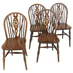 4 Vintage Beechwood Chairs, Wheelback Windsor Chairs, Canada 1940, B2270