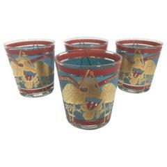 4 Vintage Cera Glassware Old Fashioned Glasses, Regimental Drum