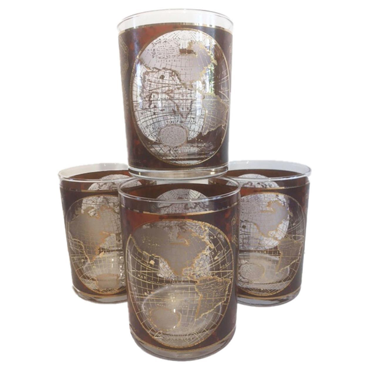 4 Vintage Culver, Terrarum Orbis Geographica Double Rocks Glasses