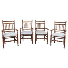 4 Vintage English Country Lancashire Oak Spindle Back Dining Arm Chairs