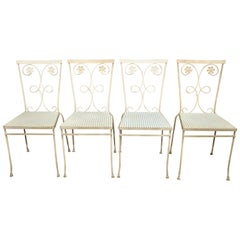 4 Vintage Gallo Wrought Iron Daisy Flower Art Nouveau Garden Patio Dining Chairs