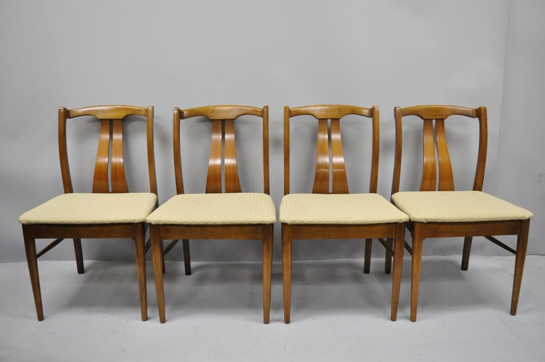 Strange 4 Vintage Mid Century Modern Curved Back Sculptured Walnut Dining Chairs Ncnpc Chair Design For Home Ncnpcorg