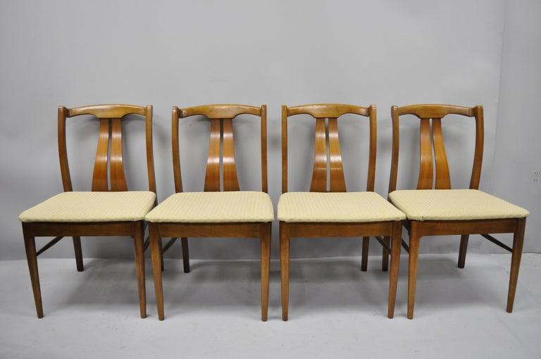 Astonishing 4 Vintage Mid Century Modern Curved Back Sculptured Walnut Dining Chairs Machost Co Dining Chair Design Ideas Machostcouk