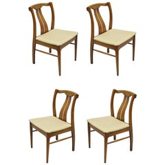 4 Vintage Mid-Century Modern Curved Back Sculptured Walnut Dining Chairs