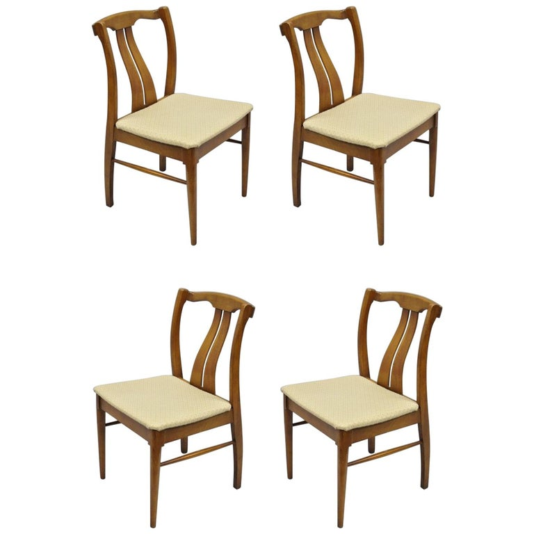 4 Vintage Mid Century Modern Curved Back Sculptured Walnut Dining Chairs