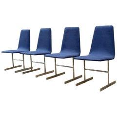 4 Vintage Midcentury Tim Bates Pieff Lisse Chrome Modernist Dining Chairs