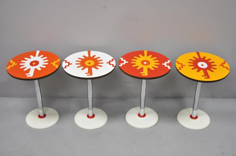 4 Vintage Orange Yellow White Geometric Pattern Round Side Tables by R. Johnson For Sale 3