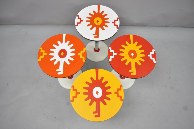 Mid-Century Modern 4 Vintage Orange Yellow White Geometric Pattern Round Side Tables by R. Johnson For Sale