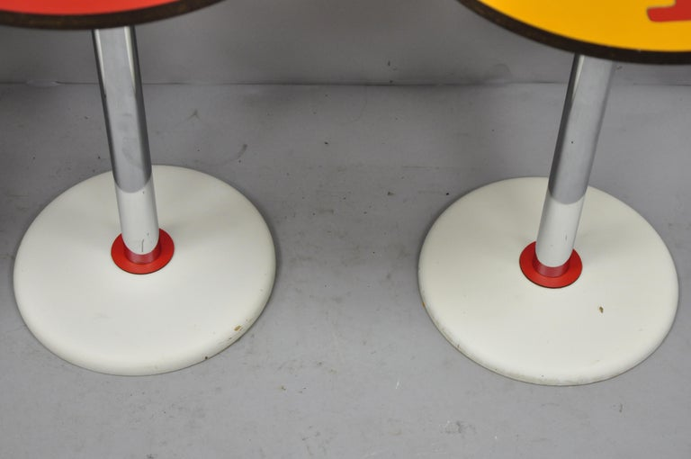 4 Vintage Orange Yellow White Geometric Pattern Round Side Tables by R. Johnson For Sale 1