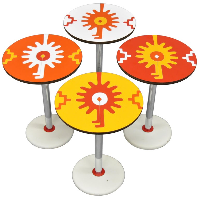 4 Vintage Orange Yellow White Geometric Pattern Round Side Tables by R. Johnson For Sale