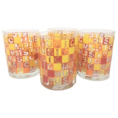 4 Vintage Rocks Glasses with the Word Music Repeated Horizontally & Vertically