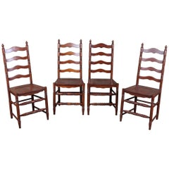 4 Vintage Shaker Style Maple Ladderback Dining Side Chairs Country Farmhouse