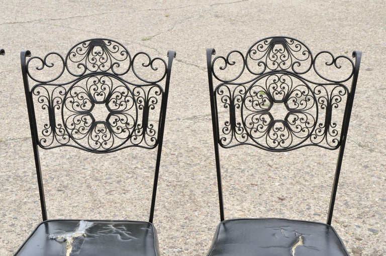 4 Vintage Woodard Andalusian Style Wrought Iron Dining Chairs By Contempo Frames