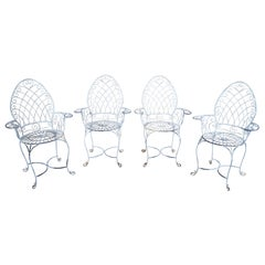 4 Vintage Wrought Iron Scrolled Patio Armchairs Ice Cream Parlor Chic