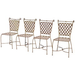 4 Woven Lattice Wrought Iron Italian Neoclassical Garden Patio Dining Chairs