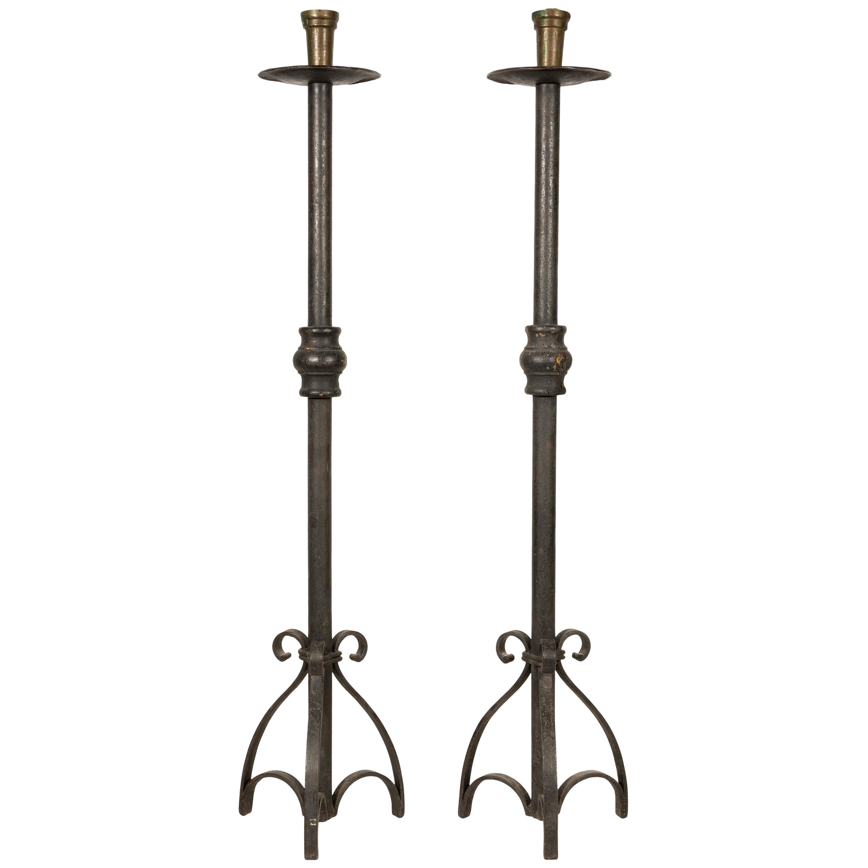 19th Century Wrought Iron Candle Holders