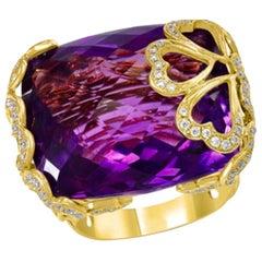 40 Carat Amethyst and Diamond Ballerina Cocktail Ring in 18 Karat Pink Gold