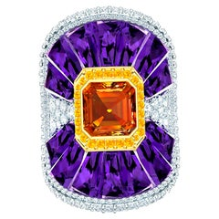40 Carat Amethyst and Fire Opal Diamond Ring