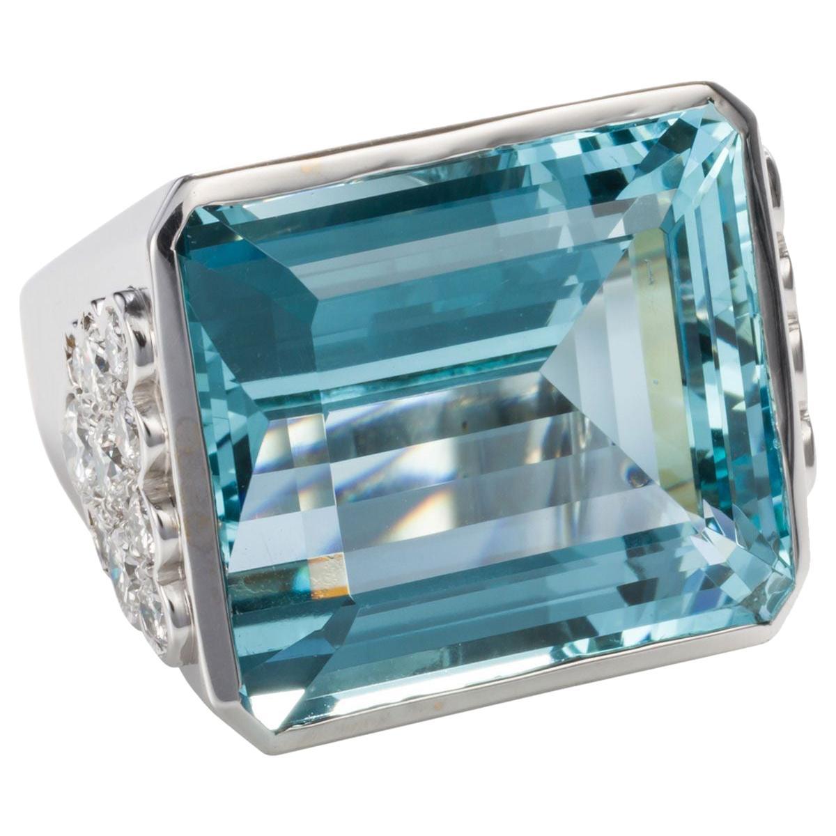 40 Carat Aquamarine and Diamond Cocktail Ring