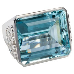 40 Carat Aquamarine and Diamond Cocktail Ring