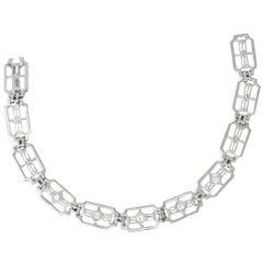 .40 Carat Art Deco 14 Karat White Gold Diamond Link Bracelet