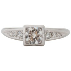 .40 Carat Art Deco Diamond Platinum Engagement Ring