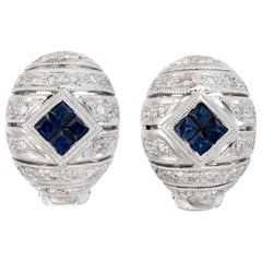 .40 Carat Blue Sapphire Diamond White Gold Domed Earrings