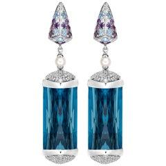 40 Carat Blue Topaz Earrings in 18 Karat White Gold with Diamonds