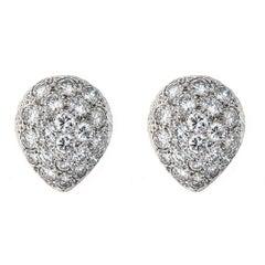 4.0 Carat Diamond and Platinum 14 Karat White Gold Earrings