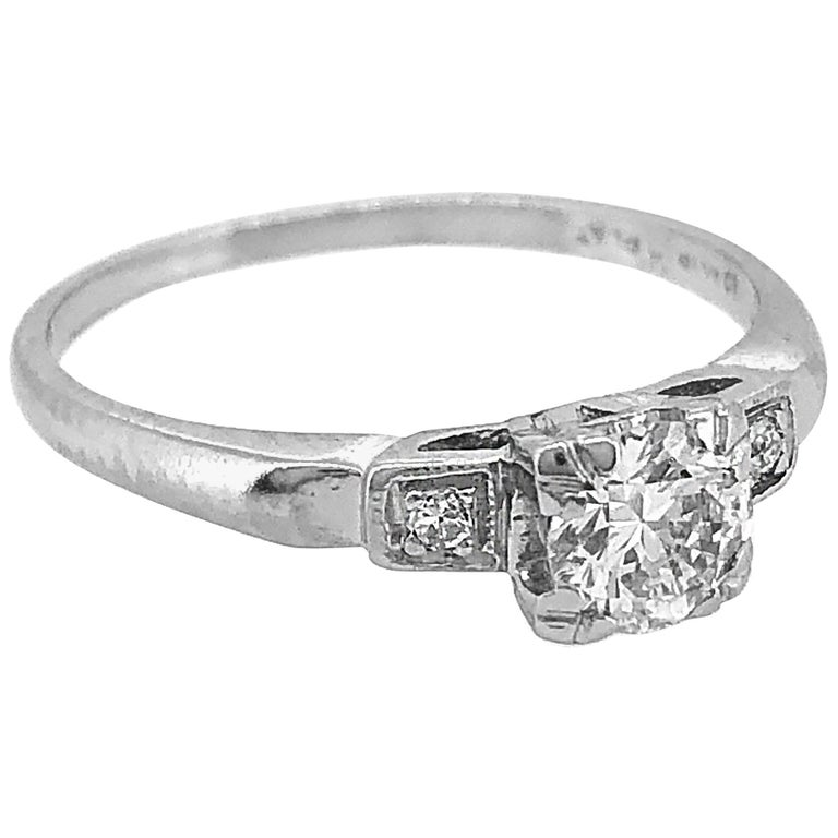 Antique Engagement Rings For Sale: .40 Carat Diamond And Platinum Art Deco Antique Engagement