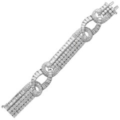 40 Carat Diamond and Platinum Art Deco Bracelet