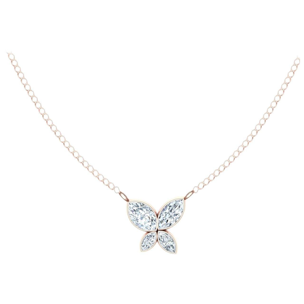 .40 Carat Diamond Butterfly Rose Gold Pendant