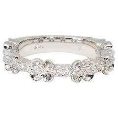 .40 Carat Diamond Floret Wedding Anniversary Stacking Band 14 Karat White Gold