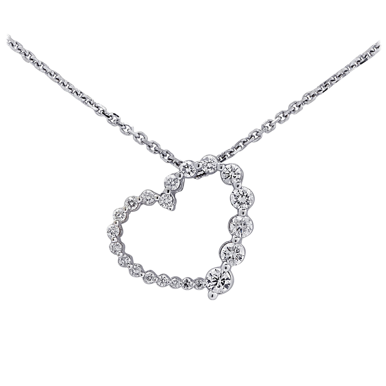 .40 Carat Diamond Heart White Gold Necklace
